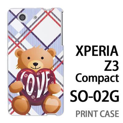 XPERIA Z3 Compact SO-02G 用『0113 愛を抱えるクマ 青』特殊印刷ケース【 xperia z3 compact so-02g so02g SO02G xperiaz3 エクスペリア エクスペリアz3 コンパクト docomo ケース プリント カバー スマホケース スマホカバー】の画像