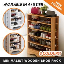[FREE DELIVERY] 4/5 Tier Minimalist Wooden Shoe Rack