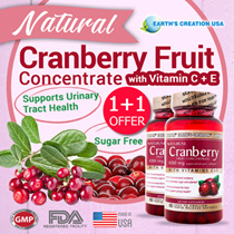 ★1+1★EARTH's CREATION® Natural Cranberry Fruit Concentrate ♡ 60's Softgels ♡ Helps Maintain A Healthy Urinary Tract ♡ With Vitamin Cs  E ♡ Expiry Jan 2019