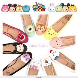 ♥New Arrival♥Gracegift-Disney TsumTsum Character Embroidered Ballet Flats/Women Shoes