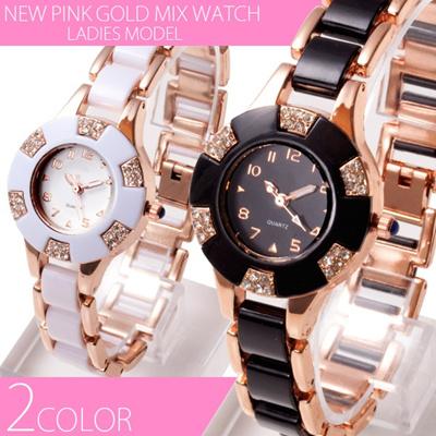 きらびやかな仕上がり 28mmスモールフェイス NEWピンクゴールドMIX腕時計 全2色の画像