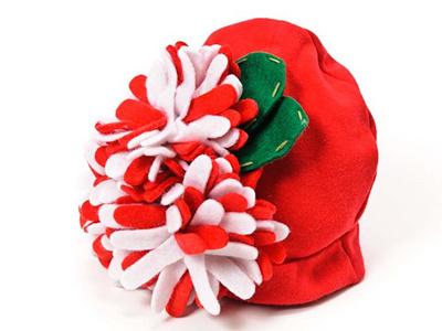 マッドパイ Mud Pie ベビーハット/帽子 0-12m(0~12ヶ月) FELT FLOWER HATS 花 131245 レッド/ホワイト クリスマスの画像
