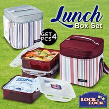 LOCKnLOCK Lunch Box Set With Stripe Bag
