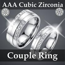 【AAA Cubic Zirconia Titanium Couple Ring】