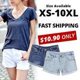 JESSCLOSET - Denim Shorts Comes In Plus Size Up To 10XL