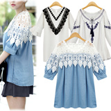 ▶Most popular in Korea◀  Luxury lace embroidery blouse :  short sleeve shirt : loose oversized (~ xl): denim and cotton