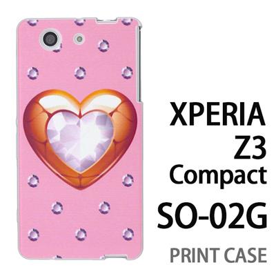 XPERIA Z3 Compact SO-02G 用『0114 ハートとダイヤ ピンク』特殊印刷ケース【 xperia z3 compact so-02g so02g SO02G xperiaz3 エクスペリア エクスペリアz3 コンパクト docomo ケース プリント カバー スマホケース スマホカバー】の画像
