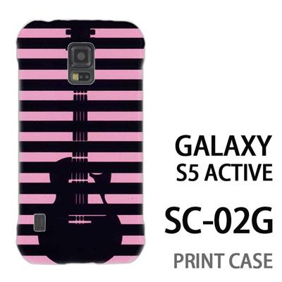 GALAXY S5 Active SC-02G 用『0713 ピンク黒ストライプギター』特殊印刷ケース【 galaxy s5 active SC-02G sc02g SC02G galaxys5 ギャラクシー ギャラクシーs5 アクティブ docomo ケース プリント カバー スマホケース スマホカバー】の画像