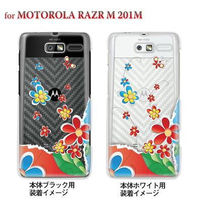 【MOTOROLA RAZR ケース】【201M】【Soft Bank】【カバー】【スマホケース】【クリアケース】【フラワー】【Vuodenaika】 21-201m-ne0035caの画像