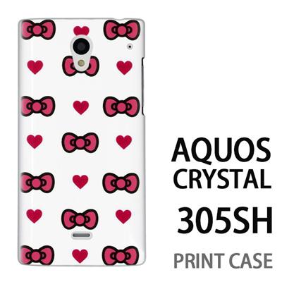 AQUOS CRYSTAL 305SH 用『0626 ピンクリボンドット』特殊印刷ケース【 aquos crystal 305sh アクオス クリスタル アクオスクリスタル softbank ケース プリント カバー スマホケース スマホカバー 】の画像