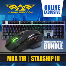 Online Exclusive Armaggeddon Promo Bundle! MKA 11R RGB Raptor Mech Gaming Keyboard + Starship III - Macro-Able™ Mouse Up to 10K CPI | 9 Buttons | High Quality OMRON Switches