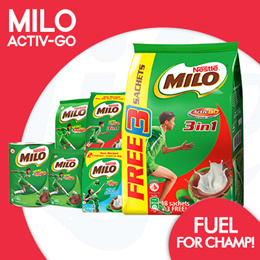 [NESTLE] Milo® ACTIV-GO in 3-IN-1 Sachets and Regular Powder Tins!