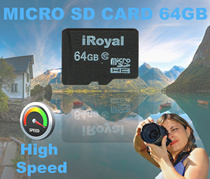 iRoyal 64GB Micro SD SDHC Memory Card Class 10 Transfer Faster / Waterproof / X-Ray-proof