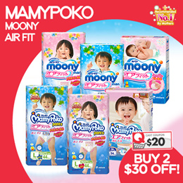[Unicharm]【BUY 2 $10 OFF!】MAMYPOKO AND MOONY AIR FIT Diapers! JAPAN AUTHENTIC!
