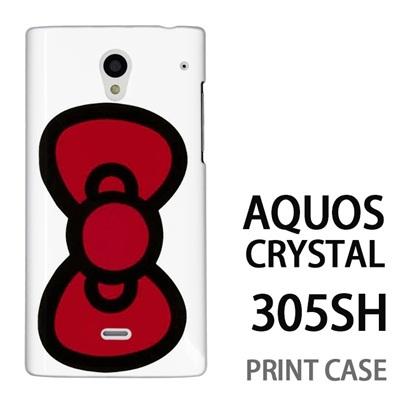 AQUOS CRYSTAL 305SH 用『0626 赤リボン』特殊印刷ケース【 aquos crystal 305sh アクオス クリスタル アクオスクリスタル softbank ケース プリント カバー スマホケース スマホカバー 】の画像