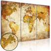 Fashion Environmental Professional Decorative Painting Canvas Triple World Map