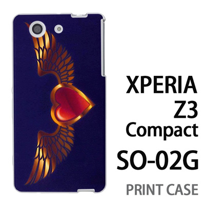 XPERIA Z3 Compact SO-02G 用『0114 羽とハート 紫』特殊印刷ケース【 xperia z3 compact so-02g so02g SO02G xperiaz3 エクスペリア エクスペリアz3 コンパクト docomo ケース プリント カバー スマホケース スマホカバー】の画像
