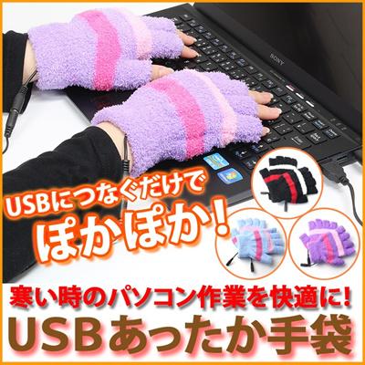 USB あったか 手袋 あったか 手袋 USB 手袋 あったかグッズ てぶくろ ほかほか ぽかぽか ポカポカ あったか パソコン スマホ オフィス デスク ER-GVHM [ゆうメール配送][送料無料]の画像