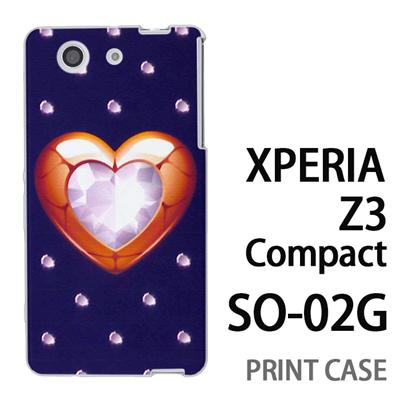 XPERIA Z3 Compact SO-02G 用『0114 ハートとダイヤ 紺』特殊印刷ケース【 xperia z3 compact so-02g so02g SO02G xperiaz3 エクスペリア エクスペリアz3 コンパクト docomo ケース プリント カバー スマホケース スマホカバー】の画像