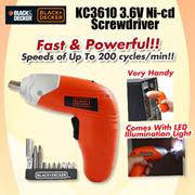 【Black and Decker】 KC3610 3.6V Ni-cd Screwdriver (Drill) | A7071 Screwdriver | A7073 Screwdriver