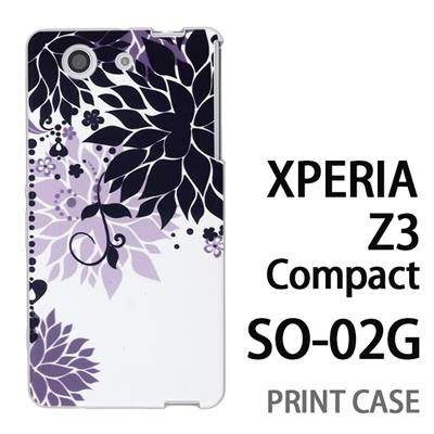 XPERIA Z3 Compact SO-02G 用『0114 花のオブジェ 黒』特殊印刷ケース【 xperia z3 compact so-02g so02g SO02G xperiaz3 エクスペリア エクスペリアz3 コンパクト docomo ケース プリント カバー スマホケース スマホカバー】の画像