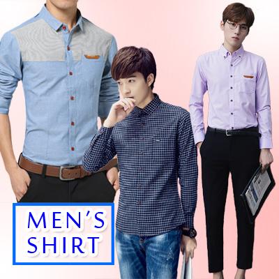 メンズ シャツ 長袖 シャツ レジャーシャツ 無地 格子シャツ 韓国 ファッション スリム修身 シャツ 若い男 新品 MCS1607