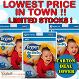 Drypers Wee Wee Dry Diapers Carton Deal For M80s/L68s/XL56s/XXL46 In 3packs per carton