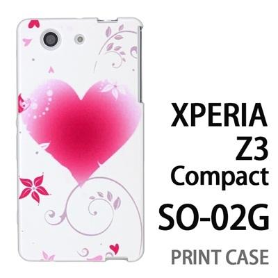 XPERIA Z3 Compact SO-02G 用『0114 花飾りのハート 白』特殊印刷ケース【 xperia z3 compact so-02g so02g SO02G xperiaz3 エクスペリア エクスペリアz3 コンパクト docomo ケース プリント カバー スマホケース スマホカバー】の画像