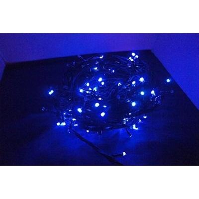 【レビュー記載で送料無料!】LED100球イルミネーション/青/黒線 ブルー/防雨加工/連結可能 即納の画像