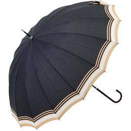 ビコーズ(because) 16フレーム リムボーダー 長傘 ブラック DD-01300 【アウトドア用品 日傘/晴雨兼用 レイングッツ 通勤通学 雨具】