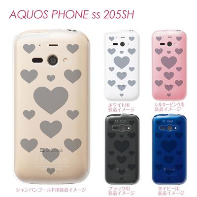 【AQUOS PHONE ss 205SH】【205sh】【Soft Bank】【カバー】【ケース】【スマホケース】【クリアケース】【チェック・ボーダー・ドット】【トランスペアレンツ】【ミニハート】 06-205sh-ca0021lの画像