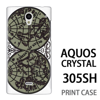 AQUOS CRYSTAL 305SH 用『0707 世界マップ 緑』特殊印刷ケース【 aquos crystal 305sh アクオス クリスタル アクオスクリスタル softbank ケース プリント カバー スマホケース スマホカバー 】の画像