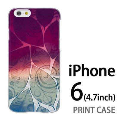 iPhone6 (4.7インチ) 用『0116 舞い散る葉 紫×緑』特殊印刷ケース【 iphone6 iphone アイフォン アイフォン6 au docomo softbank Apple ケース プリント カバー スマホケース スマホカバー 】の画像