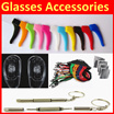 👓👓 High Quality Silicone Nose Pad Support / Ear Hook / Neck Strap / Glasses Cord / Eye Wear Spectacle Glasses Sunglasses screw screwdriver cleaning cloth glasses pouch Microfiber