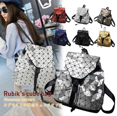 Up Style▶Upgrade Ver. Stylish Rubik′s Cube Backpack for Lady◀GBD-Japan Fashion Bags/ Geometric Patchwork Lattice Diamond Backpack/ Rucksack/ CHIC Women MUST HAVE ITEMS/ Reasonable Price-3 Styles
