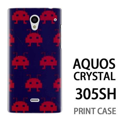 AQUOS CRYSTAL 305SH 用『0709 インベーダー赤ドット』特殊印刷ケース【 aquos crystal 305sh アクオス クリスタル アクオスクリスタル softbank ケース プリント カバー スマホケース スマホカバー 】の画像