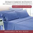 DOMUS Emboss 880 Thread Count Fitted Bedsheet Set  / 10 Colours / 4 Sizes!