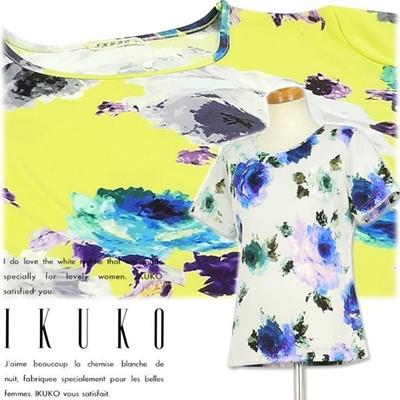 イクコ IKUKO コルティコスムース ビスコ花柄プリント半袖 RX090Tの画像
