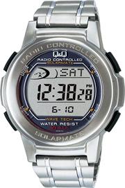 [ キューアンドキュー] QQ 腕時計 SOLARMATE (ソーラーメイト) 電波ソーラー デジタル表示 クロノグラフ 10気圧防水 シルバー MHS5-200 メンズ