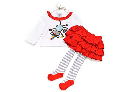 マッドパイ Mud Pie ロングTシャツ スカート付きタイツセット ベビー キッズ 352145-2T モンキー 2~3才の画像