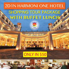 2D1N Harmoni One Hotel Shopping Tour Package with Buffet Lunch and 2Ways ferry ticket (MIN 2PAXS)