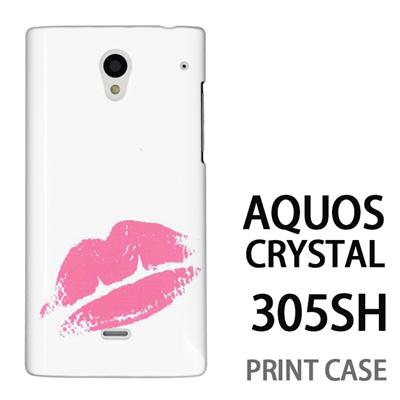 AQUOS CRYSTAL 305SH 用『0709 ワンポイントピンクキスマーク』特殊印刷ケース【 aquos crystal 305sh アクオス クリスタル アクオスクリスタル softbank ケース プリント カバー スマホケース スマホカバー 】の画像