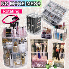 Acrylic Rotatable Makeup Organizer Rotate Vanity Cosmetic Beauty Products Storage Dressing Table