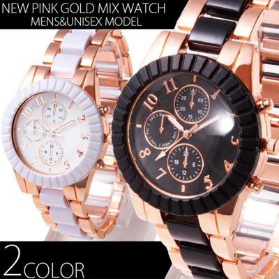 男女兼用サイズ 40mミディアムフェイス NEWピンクゴールドMIX腕時計 全2色の画像