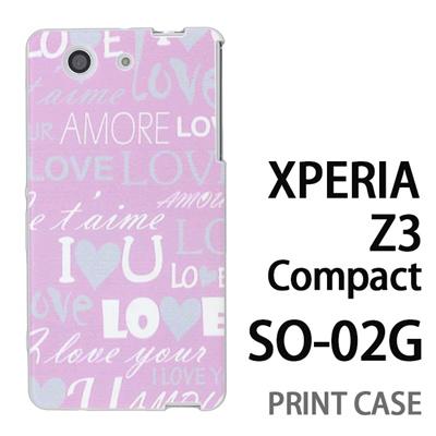 XPERIA Z3 Compact SO-02G 用『0115 愛言葉 ピンク』特殊印刷ケース【 xperia z3 compact so-02g so02g SO02G xperiaz3 エクスペリア エクスペリアz3 コンパクト docomo ケース プリント カバー スマホケース スマホカバー】の画像