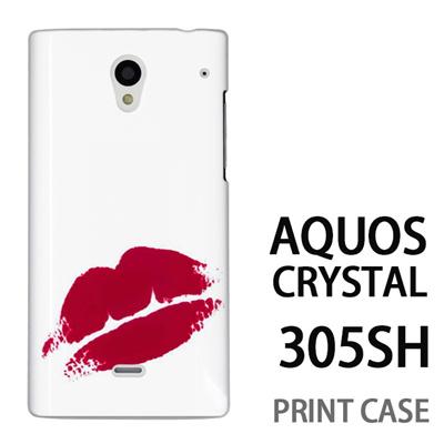 AQUOS CRYSTAL 305SH 用『0709 ワンポイント赤キスマーク』特殊印刷ケース【 aquos crystal 305sh アクオス クリスタル アクオスクリスタル softbank ケース プリント カバー スマホケース スマホカバー 】の画像