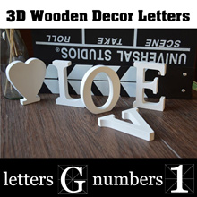 ▶3D Wooden Decoration Letters◀3D Wall Decorations 8cm High Wooden Number 0-9 English Letters A to Z Alphabet ♡ and &,Gift,Party,Shop Decor,Office Decoration