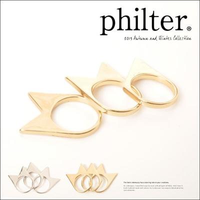 フィルター philter 3連アローリング 指輪 ゴールド シルバー メタル 取寄商品の画像
