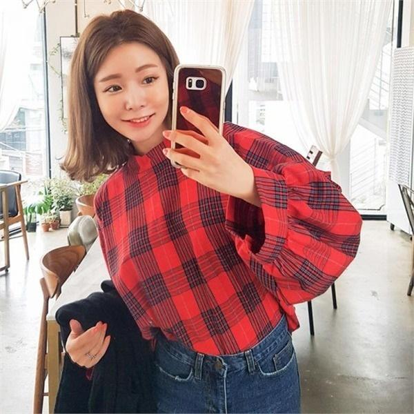 素であるダルリンミパフ小売チェックブラウスnew 女性ブラウス/ブラウス/その他/韓国ファッション