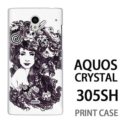 AQUOS CRYSTAL 305SH 用『0713 幻想的な女性』特殊印刷ケース【 aquos crystal 305sh アクオス クリスタル アクオスクリスタル softbank ケース プリント カバー スマホケース スマホカバー 】の画像